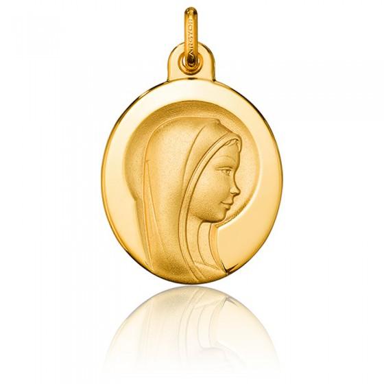 Medalla Ovalada Virgen María Aureola Oro Amarillo