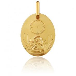 Medalla Ovalada Ángel Rafael y Reloj Oro Amarillo