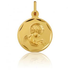 Medalla Redonda Ángel con Estrella Oro Amarillo
