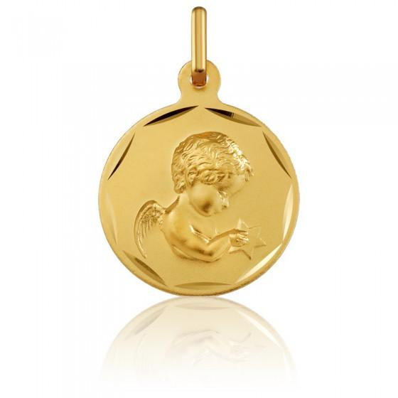 4e8079b3d49f En Stock Medalla Redonda Ángel con Estrella Oro Amarillo