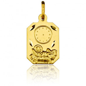 Medalla Rectangular Niño Jesús Oro Amarillo