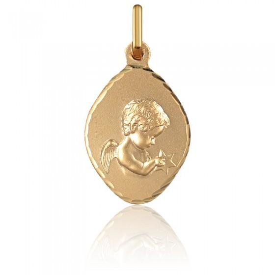 cbcd992562f8 En Stock Medalla Rombo Ángel con Estrella Oro Amarillo