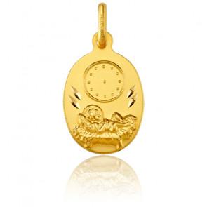 Medalla Ovalada Niño Jesús y reloj Oro Amarillo
