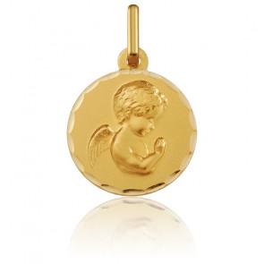 Medalla Redonda Ángel Rezando Facetado Oro Amarillo