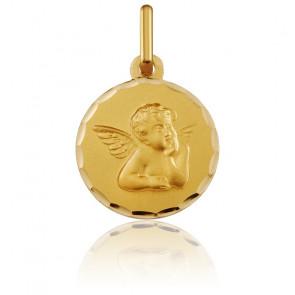 Medalla Redonda Ángel Rafael Contorno Facetado Oro Amarillo