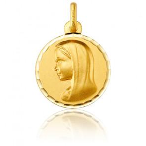 Medalla Redonda Virgen con Velo Oro Amarillo