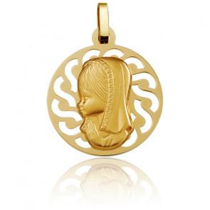 Medalla Redonda Virgen con Velo Contorno Calado Oro Amarillo