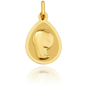 Medalla Virgen Aureola Oro Amarillo Pulido