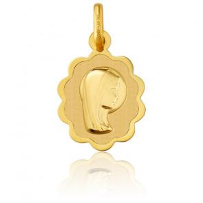 Medalla Flor Virgen Oro Amarillo