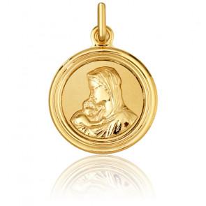 Medalla Redonda Virgen con el Niño Oro Amarillo