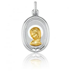Medalla Ovalada Virgen con Contorno 2 Oros