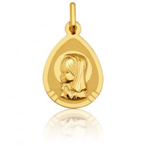 Medalla Virgen con Velo Oro Amarillo Pulido