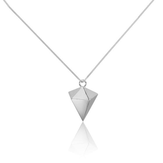 Collar Largo Punta de Diamante Origami Plata