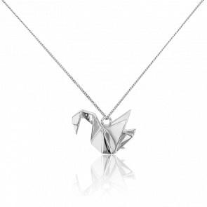 Collar Plata Cisne Origami