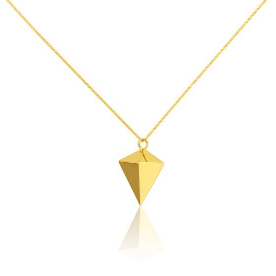 Collar Largo Punta de Diamante Origami Dorado