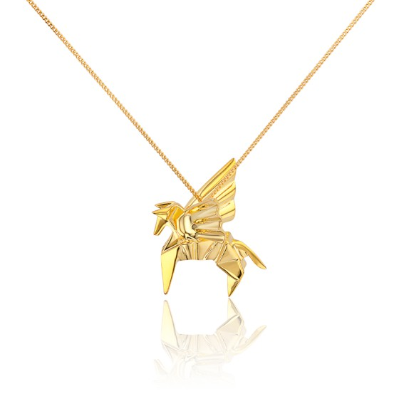 Collar Largo Pegaso Origami Dorado