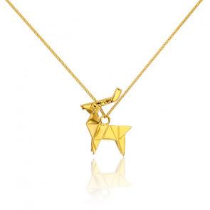 Collar Largo Ciervo Origami Dorado