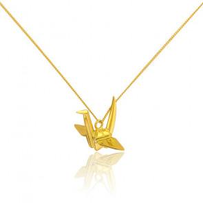 Collar Largo Pajarita Origami Dorado