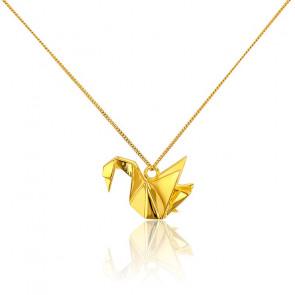 Collar Largo Cisne Origami Dorado