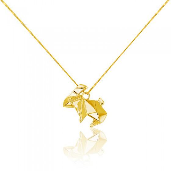 Collar Largo Conejo Origami Dorado