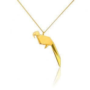 Collar Largo Loro Origami Dorado