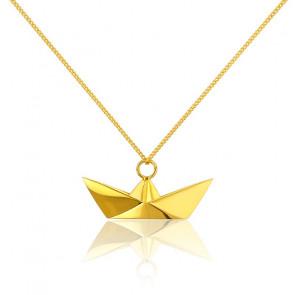 Collar Largo Barco Origami Dorado