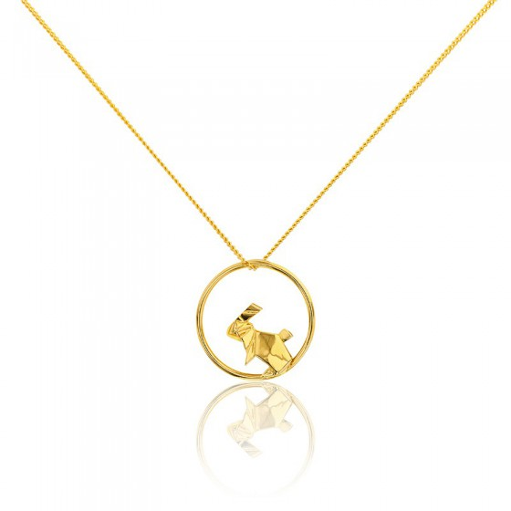 02b2bd09e74f Collar de plata dorado círculo conejo- Origami Jewellery - Ocarat