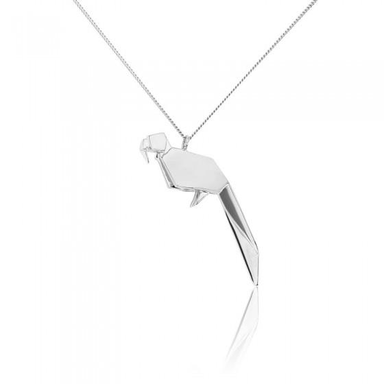 Collar Largo Loro Origami Plata