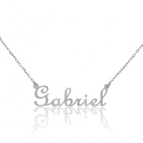 Collar Nombre Gabriel Oro Blanco 18K