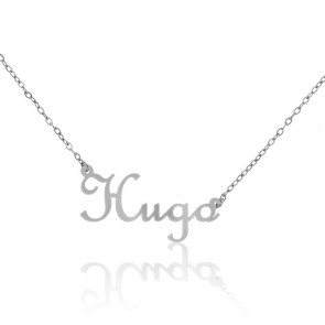 Collar Nombre Hugo Oro Blanco 18K