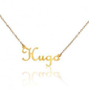 Collar Nombre Hugo Oro Amarillo 18K