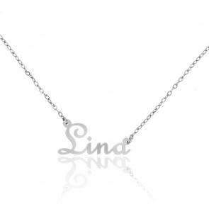 Collar Nombre Lina Oro Blanco 18K