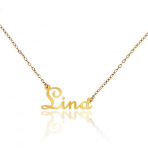 Collar Nombre Lina Oro Amarillo 18K