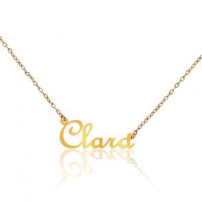 Collar Nombre Clara Oro Amarillo 18K