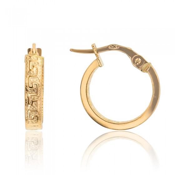 6a92b61aea97 Pendientes de Aros de Oro clásicos con greca - Lucas Lucor - Ocarat