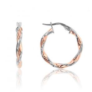 Pendientes Aros pequeños enroscados Oro Rosa & Oro Blanco 9K