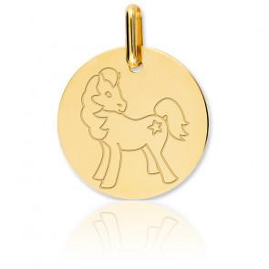 Medalla Caballo Oro Amarillo