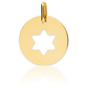 Medalla Estrella de David Calada Oro Amarillo 18K
