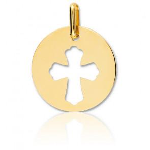 Medalla Cruz Calada Oro Amarillo