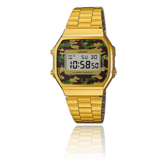 Reloj Casio Collection Camuflaje Verde - Gold - A168WEGC-3EF