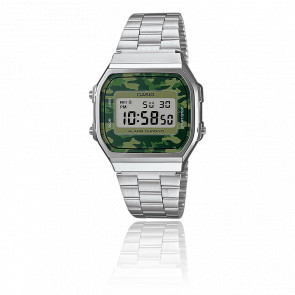 Reloj Casio Collection Camuflaje Verde - Silver - A168WEC-3EF