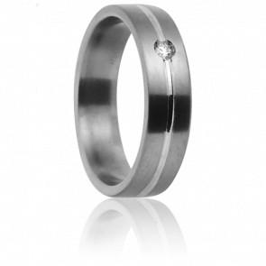 Alianza Dioné 5,0 mm Titanio Oro blanco y diamante