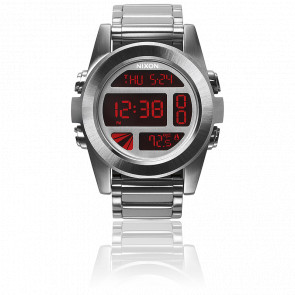 Reloj The Unit SS Silver / Red A360-1263 Nixon