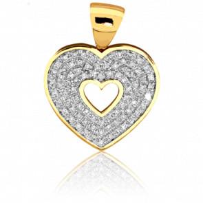 Colgante Corazón Calado y Diamantes