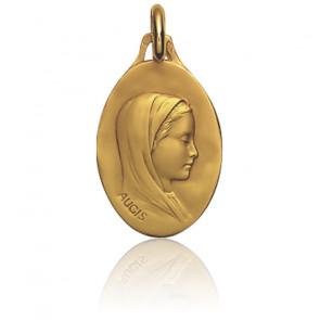 Medalla Ovalada Virgen con Velo Oro Amarillo 18K