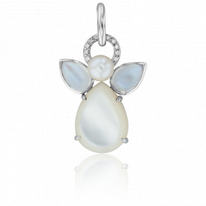 Colgante Mon Ange Oro Blanco, Piedra de Luna, Nácar, Diamantes y Perla