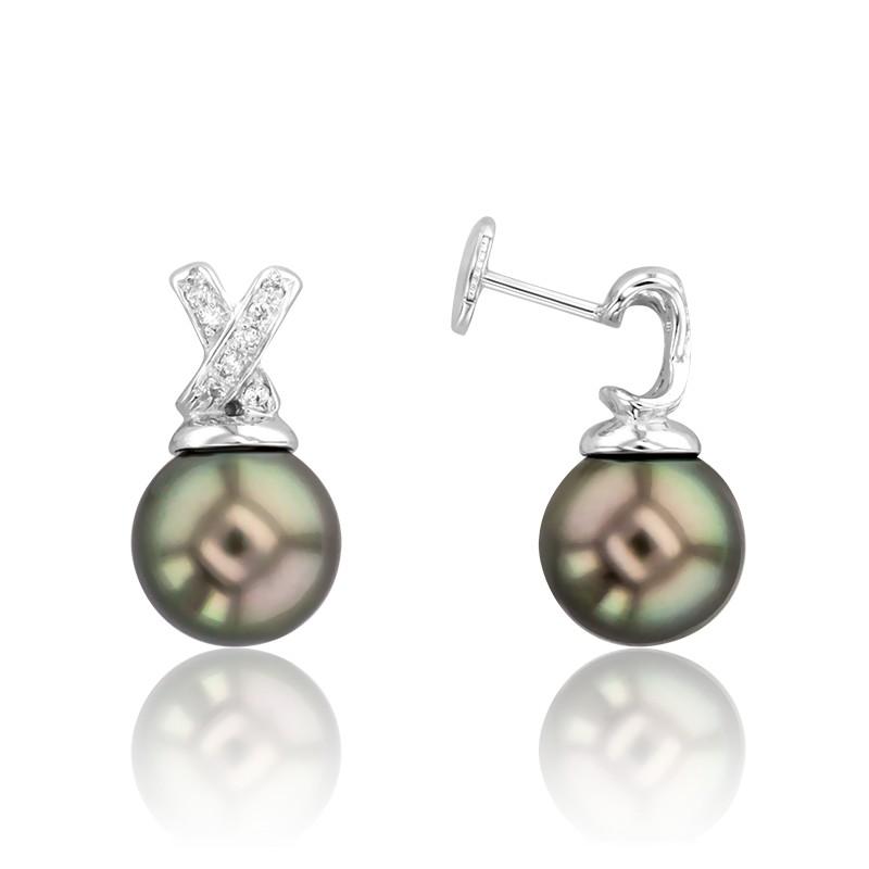 7e8abf63156f Porchet  Pendientes Tongass Perlas   Diamantes ...