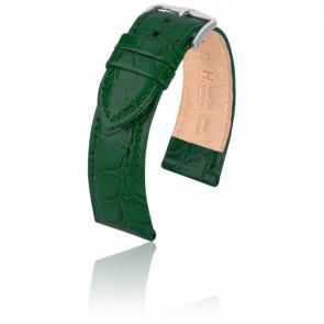 Correa Crocograin Verde/Plateada - Ancho 20 mm