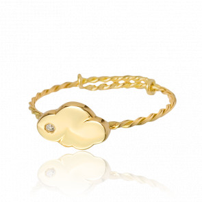 Anillo Cocoon Ajustable Oro Amarillo 18K y Diamante
