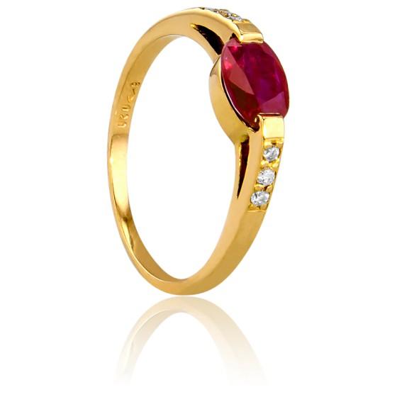 09d5e408 Anillo de compromiso Oval Oro Diamantes Rubí Bellon - Ocarat